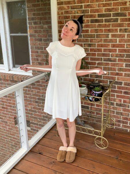 refashionista boho dyed 90's dress refashion before image