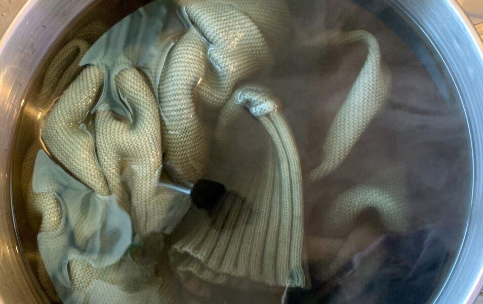 refashionista sweater in bowl dye bath