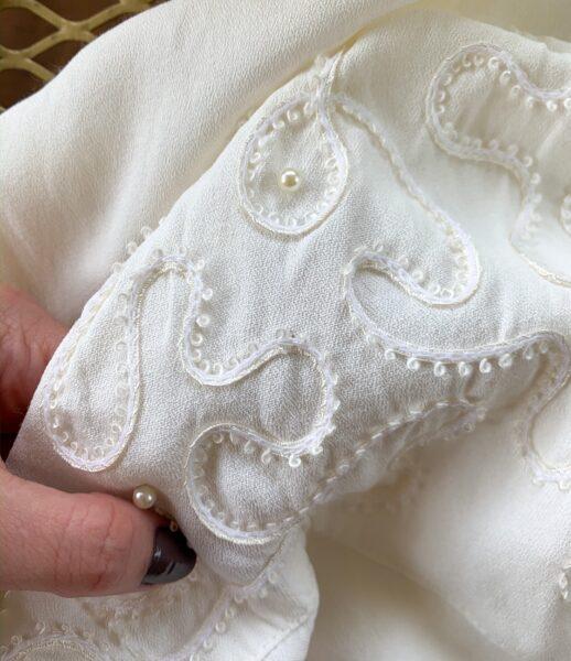 refashionista boho dyed 90's dress refashion shoulder detail close up