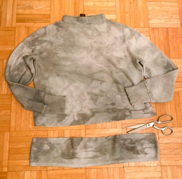 refashionista cutting jar dyed sweater