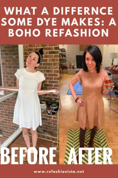 Refashionista A Boho-Dyed 90's Dress Refashion Pinterest image