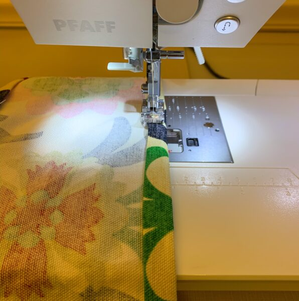 Refashionista sewing hem for upcycle