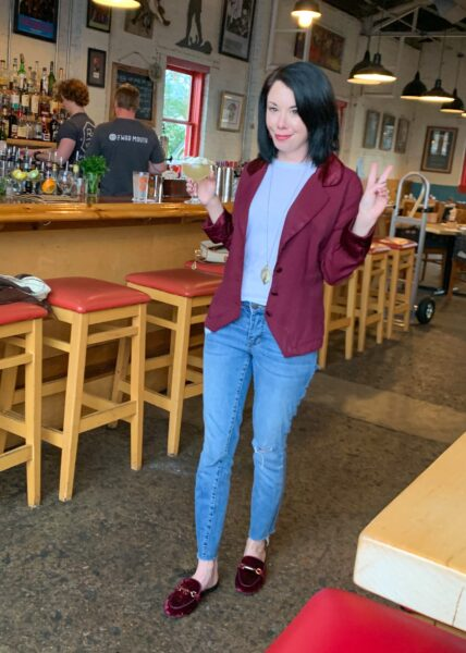 refashionista Dress to Blazer Refashion after image