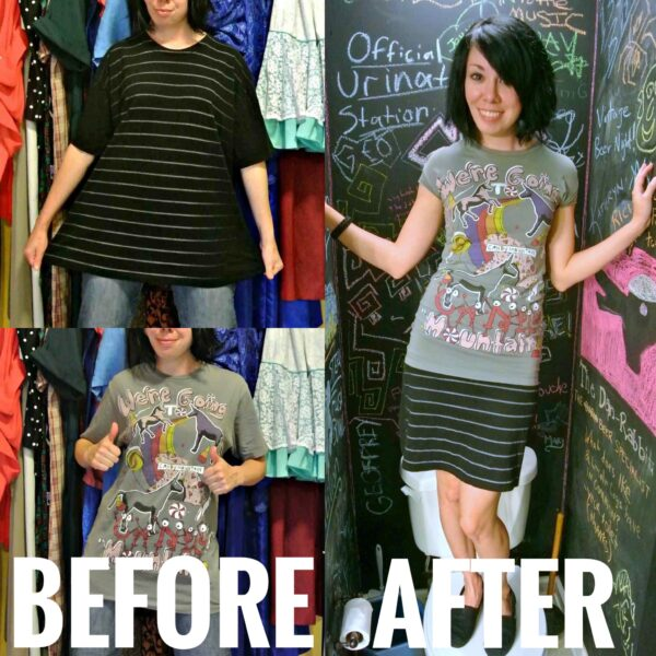 refashionista two tees one dress refashion before and after main image