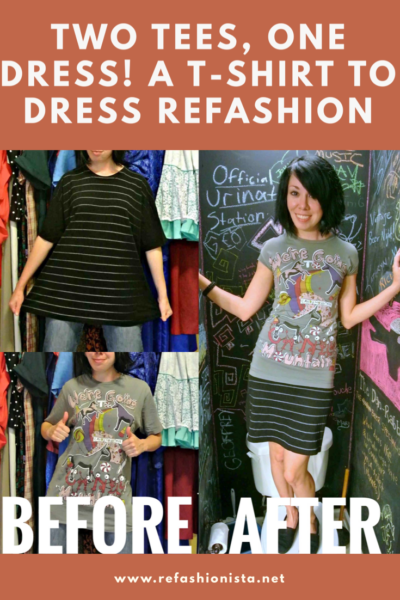 refashionista two tees one dress refashion before and after Pinterest image