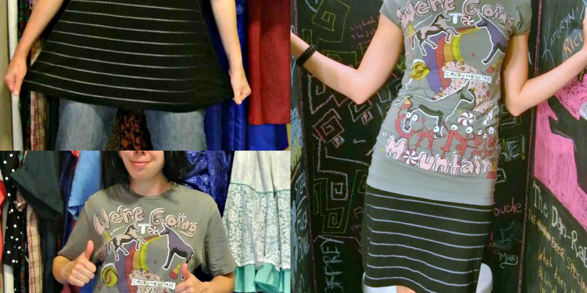 Two Tees, One Dress: A T-shirt to Dress Refashion 1