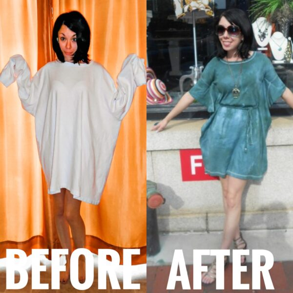 refashionista forest fairy dress: t-shirt to dress refashion before and after main image