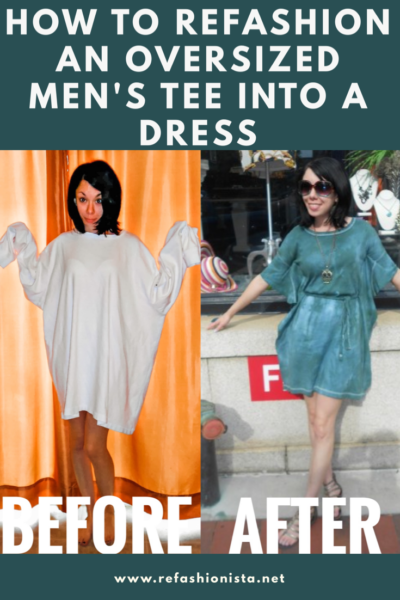 refashionista forest fairy dress: t-shirt to dress refashion before and after Pinterest image