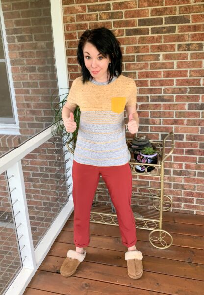 refashionista in free thrifted t-shirt