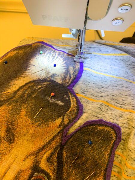 refashionista stitching down dachshund