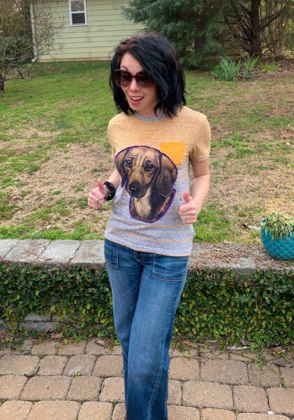 DIY dachshund applique t-shirt