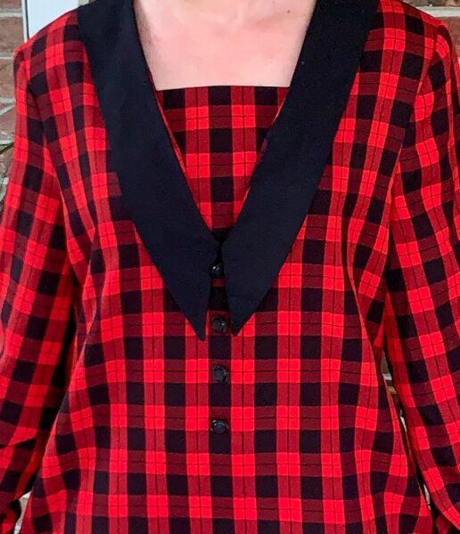 refashionista closeup of plaid dress before refashion