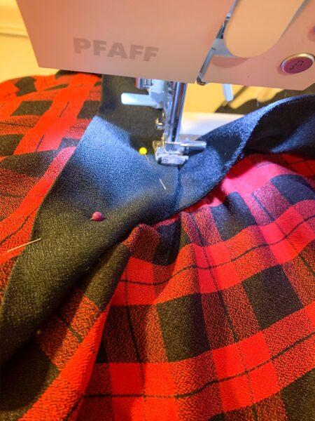 sewing plaid dress refashion
