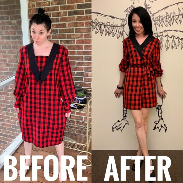 refashionista how to take in a dress from the front rad plaid refashion