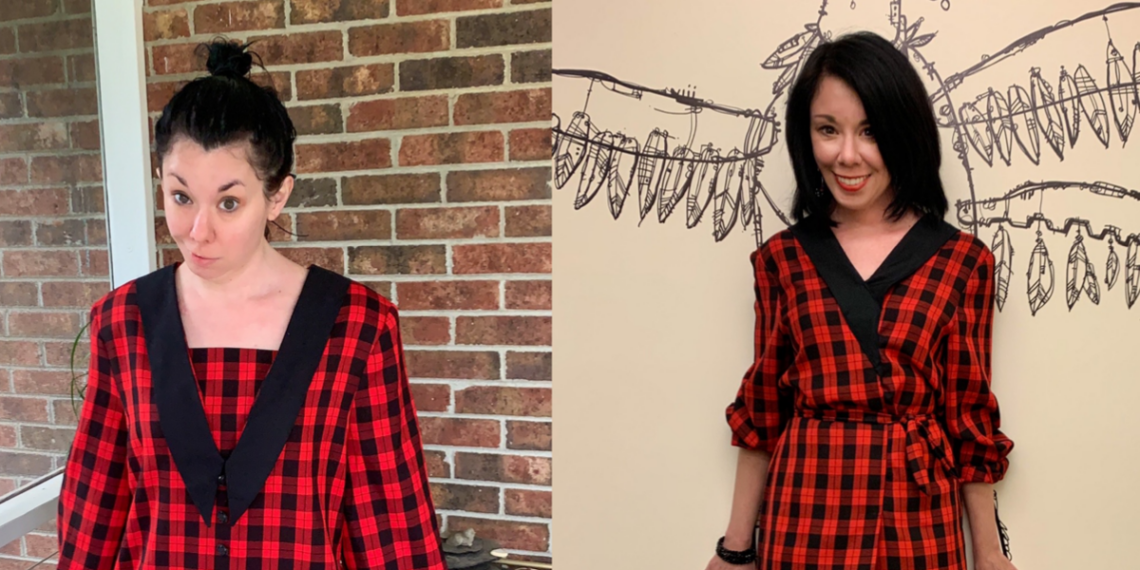 A Rad Plaid Refashion: How to Take In a Dress From the Front 11