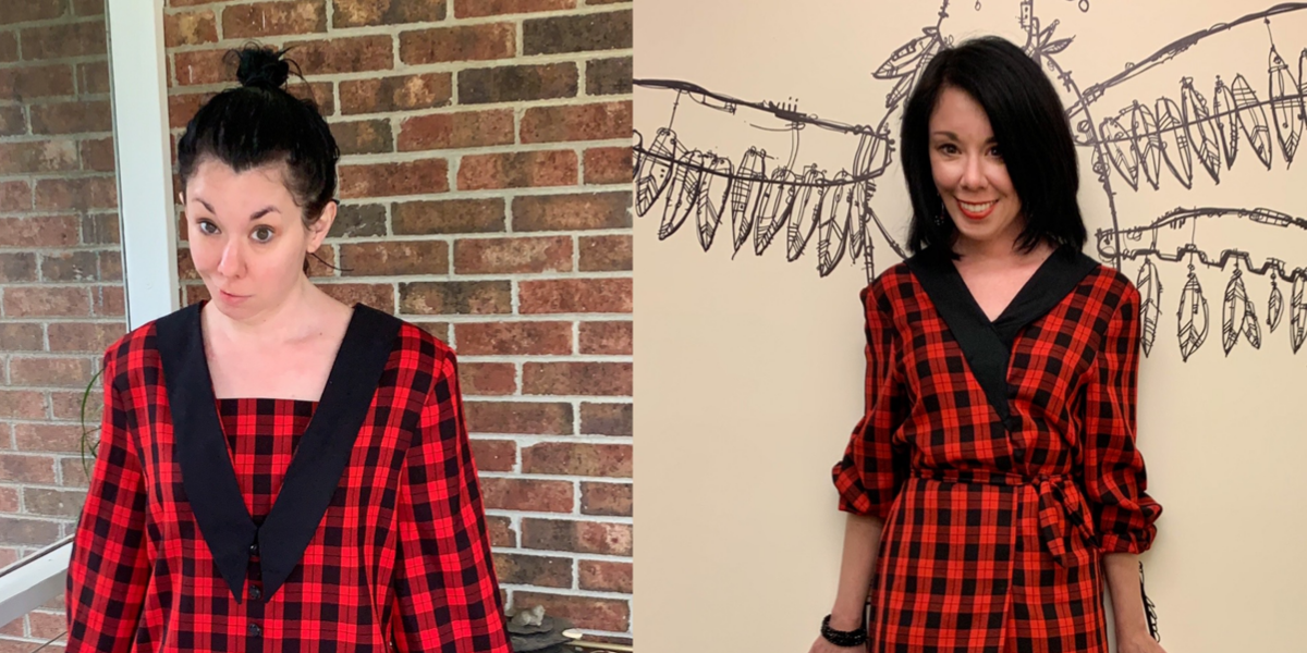 Rad Plaid Refashion: How to Take In a Dress From the Front 1