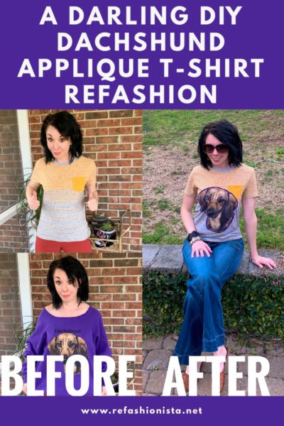 A Darling Dachshund Applique T-Shirt Refashion