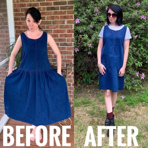 refashionista denim jumper dress before and after