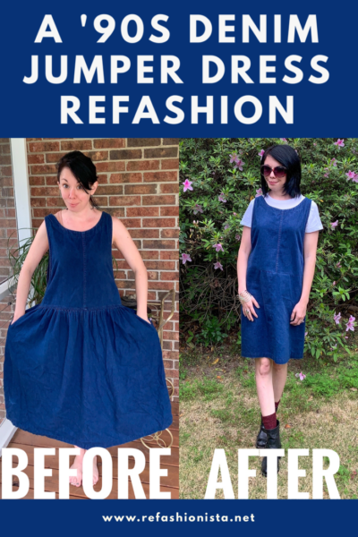 How to refashion a floofy denim jumper dress with the Refashionista!