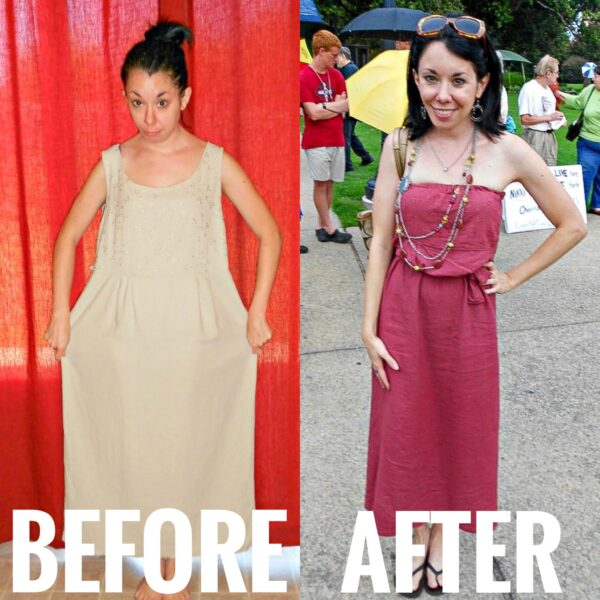 refashionista from sleeveless to strapless dress refashion before and after