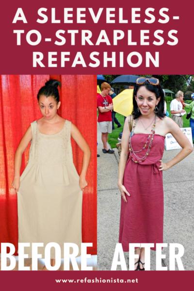 refashionista from sleeveless to strapless dress refashion