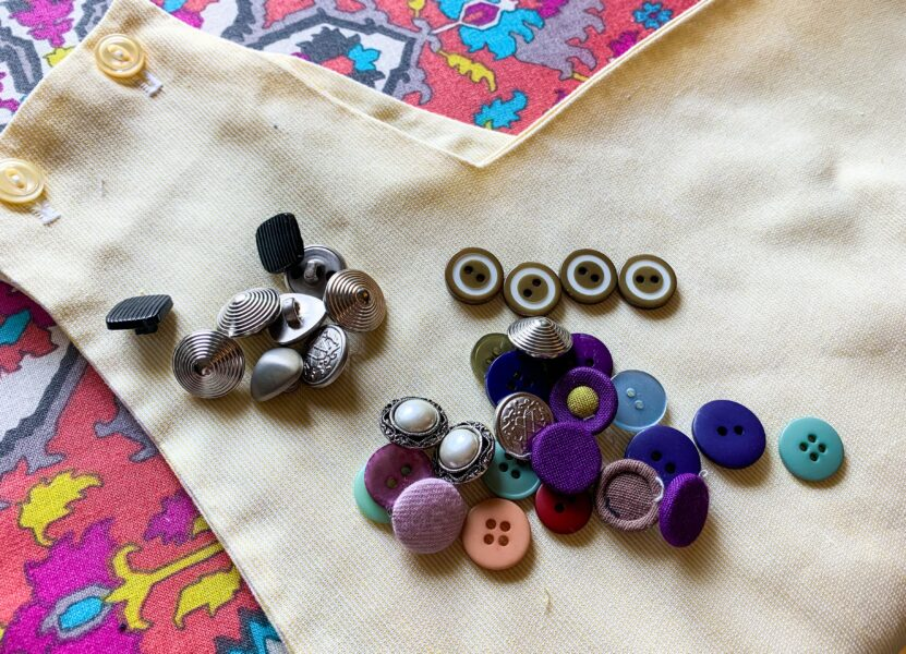 selecting buttons for dress