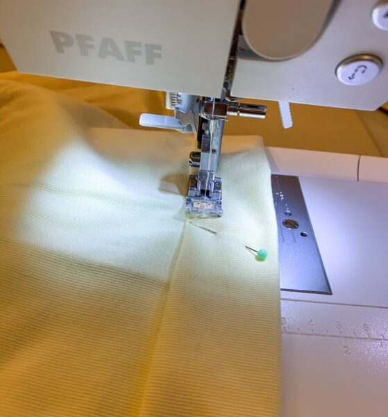 stitching hem for dress with sewing machine