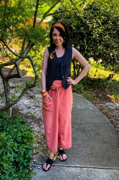 thrift store style refashionista Thai fisherman pants and vest