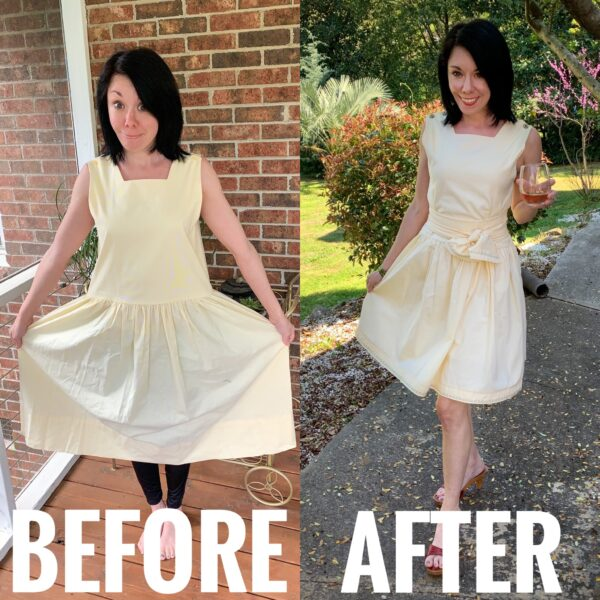 Refashionista An '80s Jumper to '50s-Inspired Dress Refashion Before and After