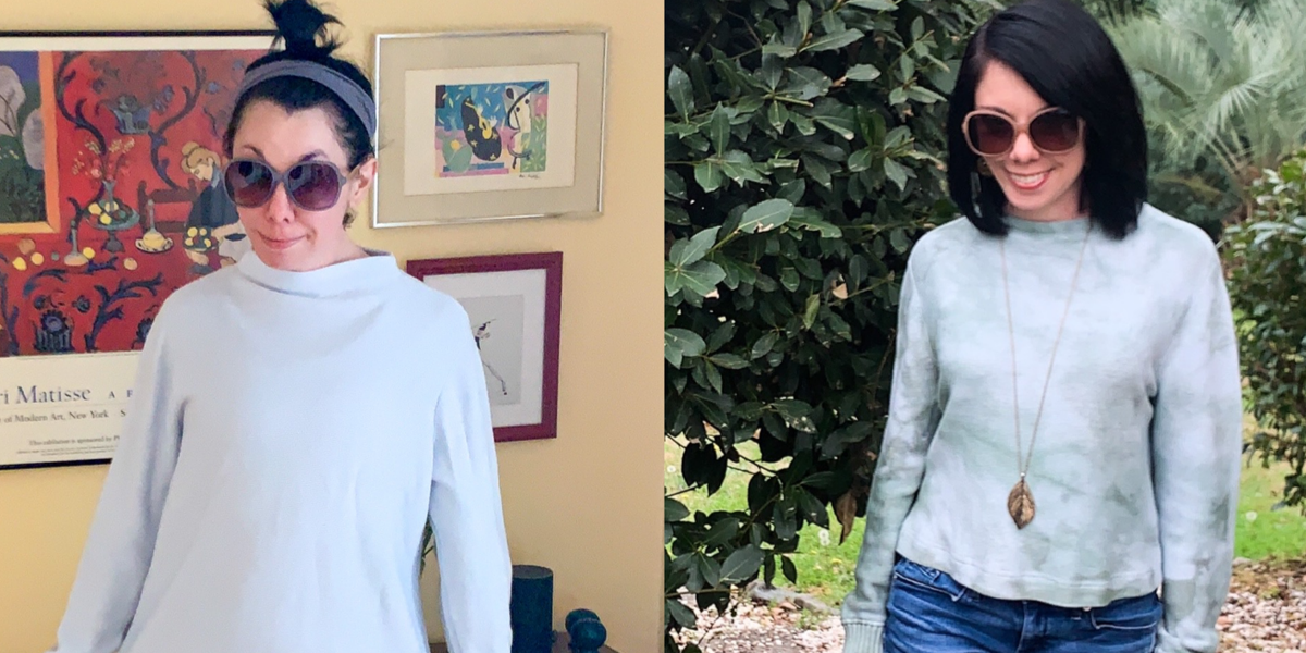 refashionista before and after jar dyed sweater