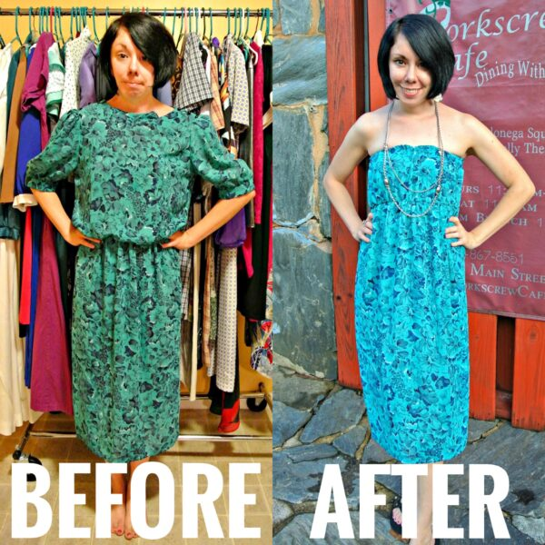 refashionista diy strapless dress refashion before and after