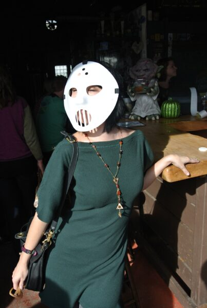 refashionista in jason mask for halloween