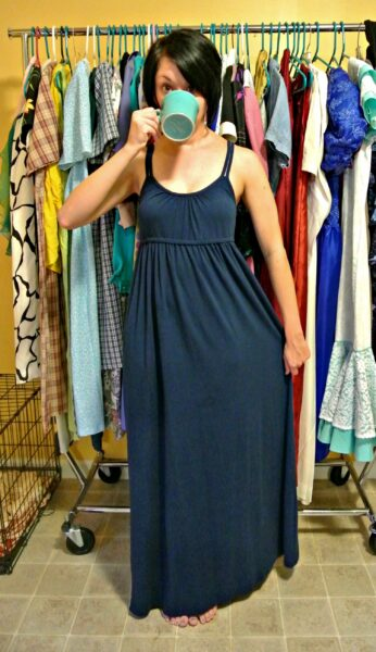 no sew jersey maxi dress refashion before