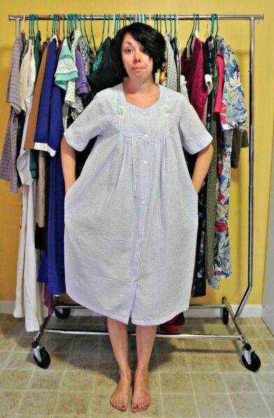 seersucker house dress refashion before