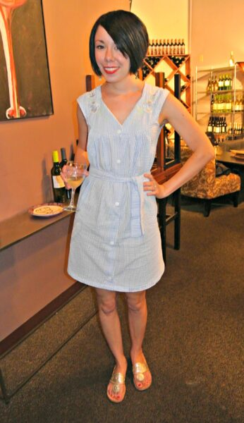 A Seersucker House Dress to Day Dress Refashion After