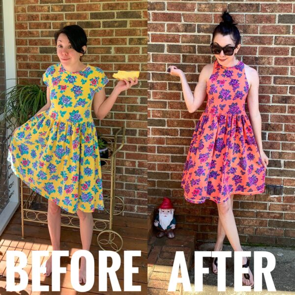floral halter dress refashion before and after