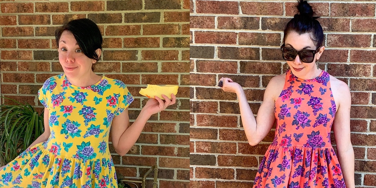 Overdyed Floral Halter Dress DIY Refashion 1