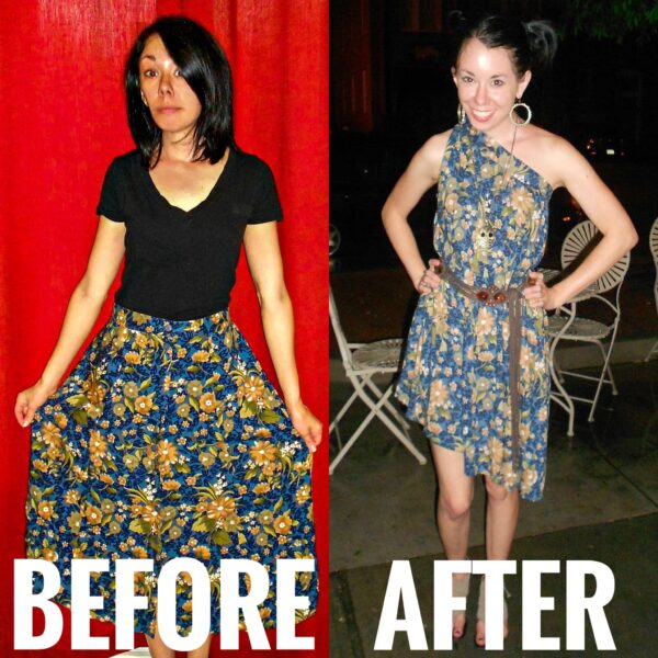 refashionista skirt to dress refashion before and after