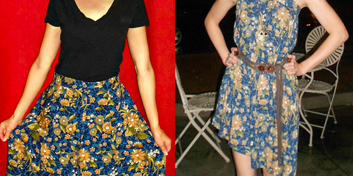 A No-Sew Skirt to Dress Refashion for the Final Karaoke Explosion 9