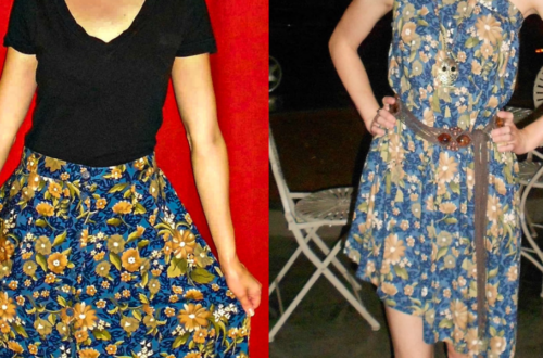 A No-Sew Skirt to Dress Refashion for the Final Karaoke Explosion 1