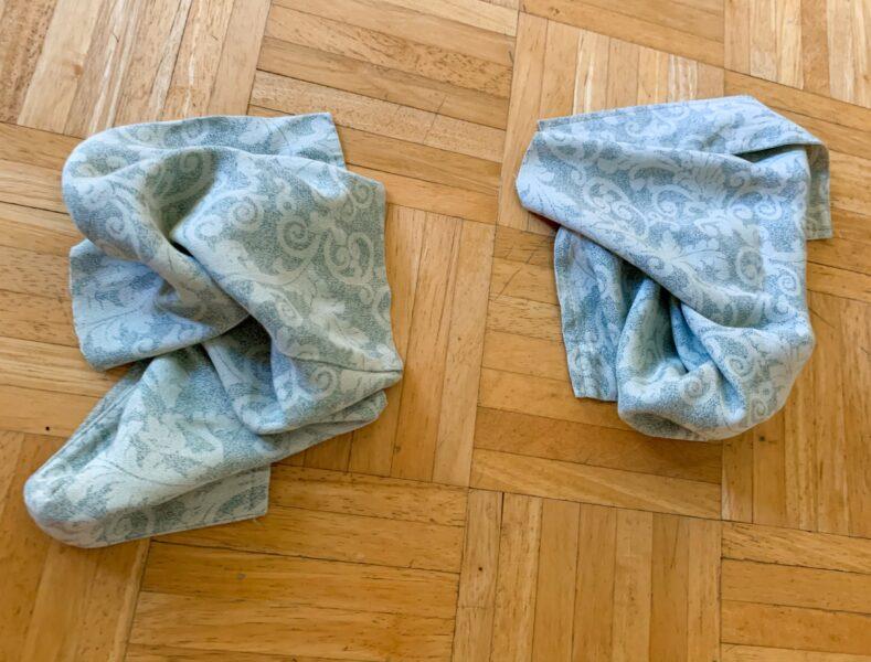 bottom scraps from dress refashion