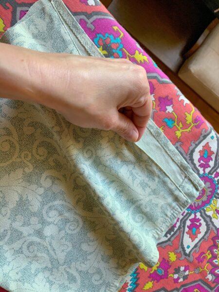 folded over fabric