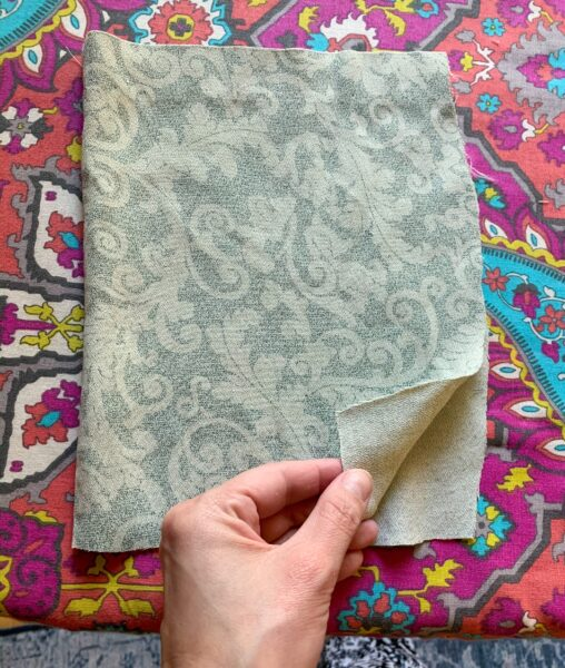 cutting fabric for face mask.
