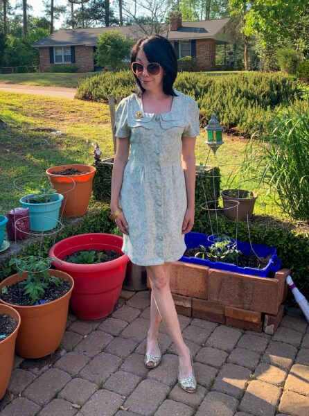refashioned green dress after