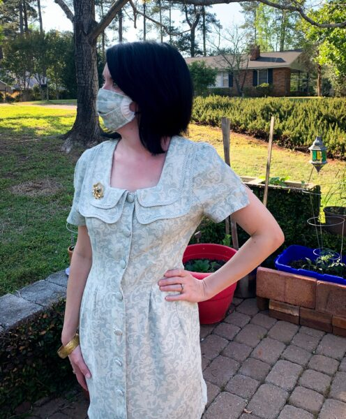 refashioned dress with matching face mask