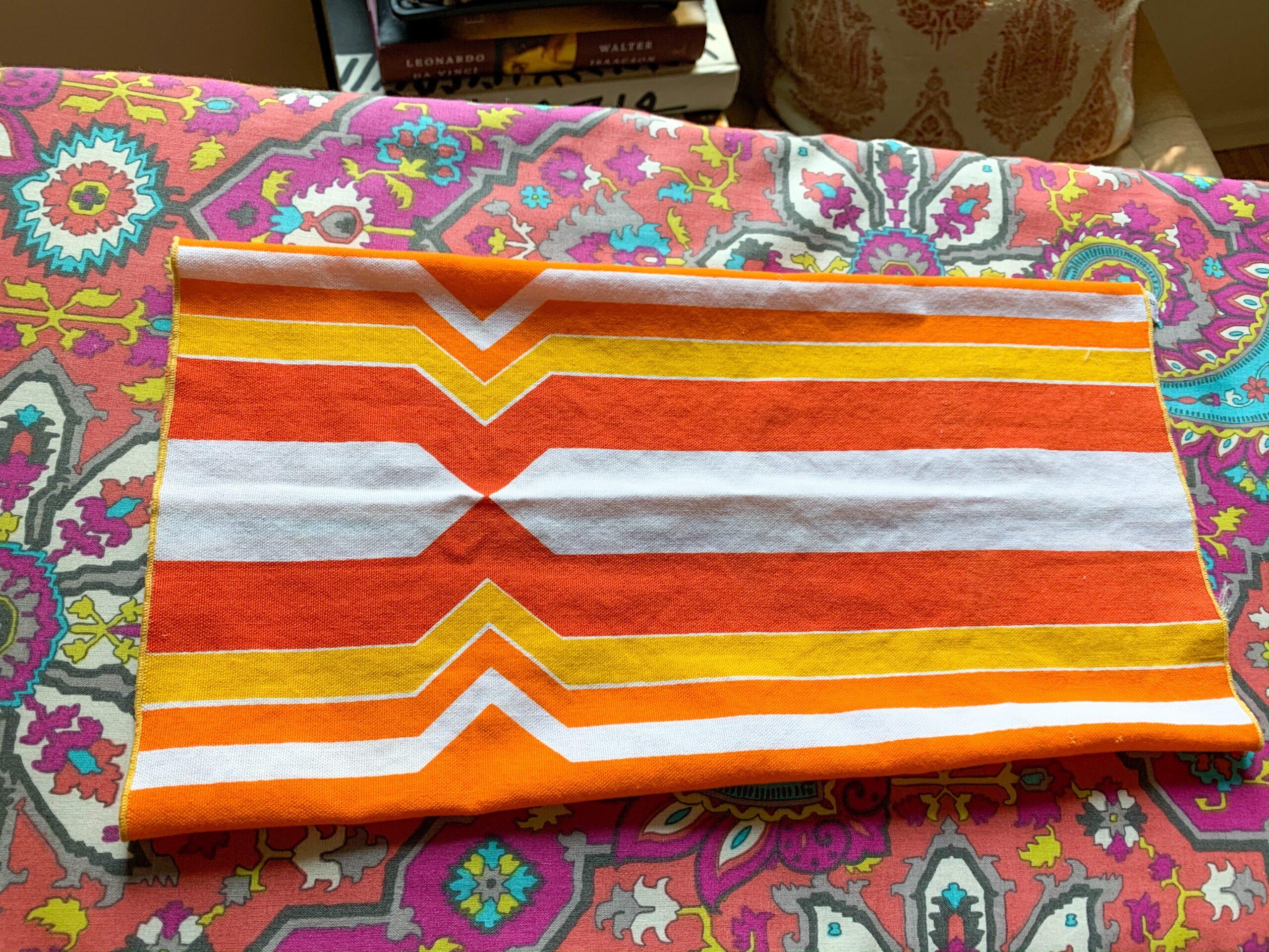 step 3 flip over folded fabric for diy face mask