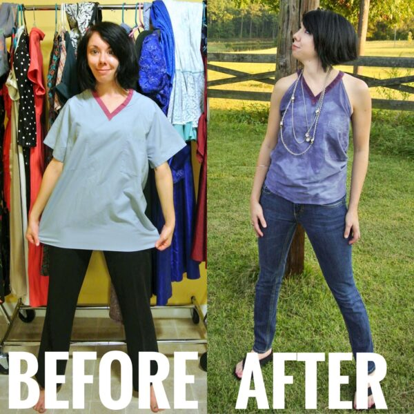 Scrub Top Upcycle Before and After