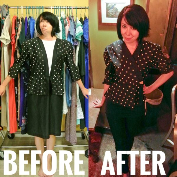 No-Sew Dress to Peplum Top Refashion Before and After