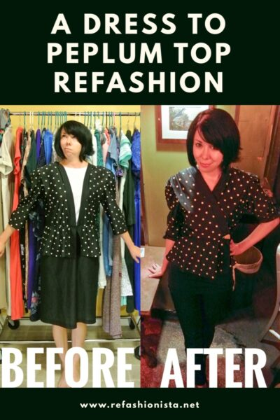 No sew dress to top refashion