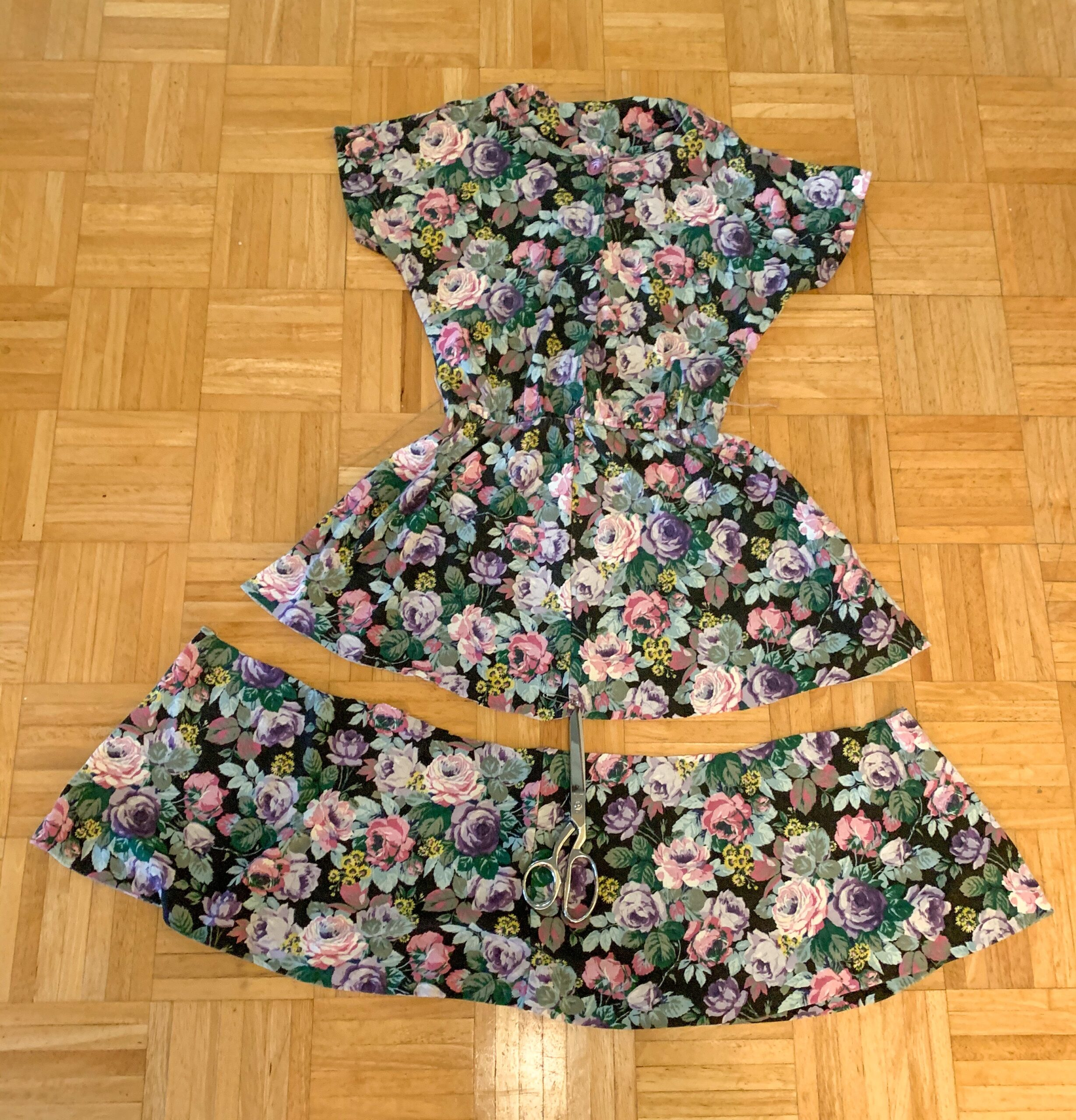 cutting off bottom of dress for romper